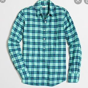 J. Crew Lightweight Flannel Check Popover Shirt